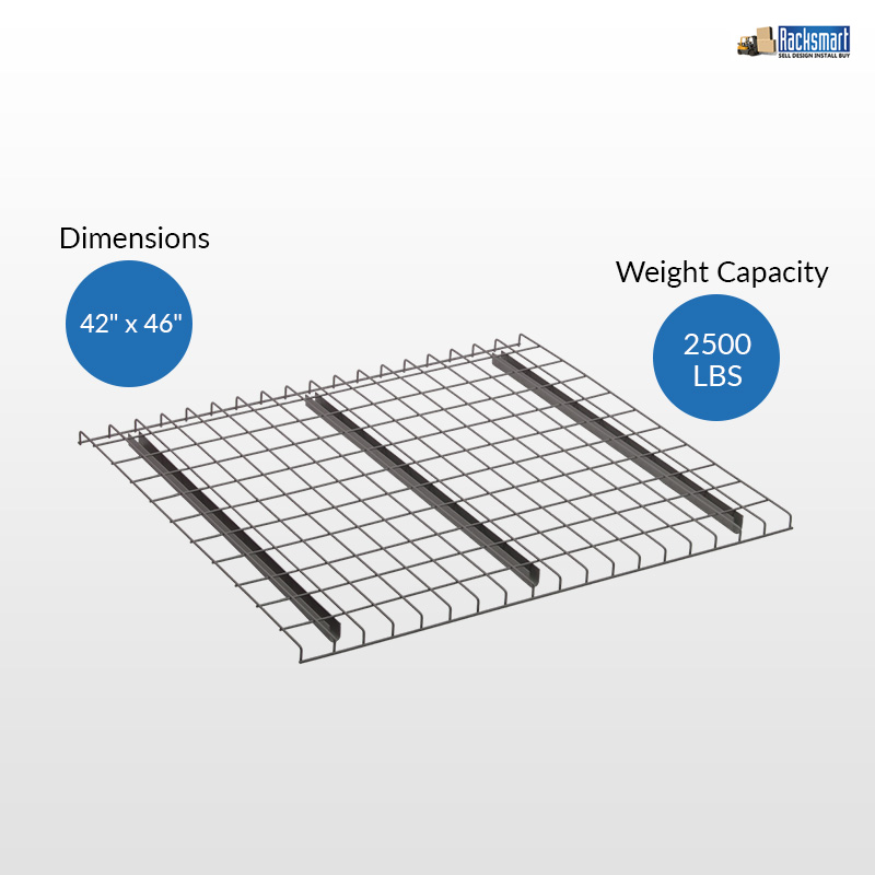 new-pallet-rack-wire-decks-for-warehouse-racking-42x46-width-42-inches-depth-46-inches-2500-lbs-weight-capacity -700-lbs-weight-capacity